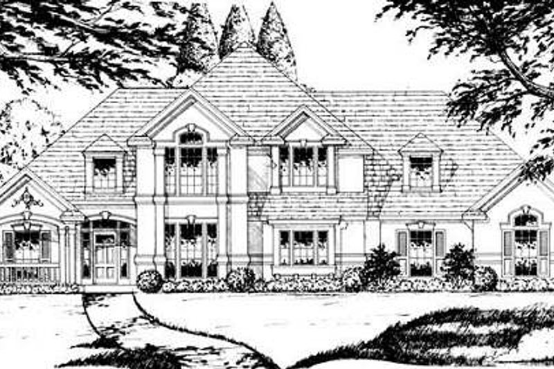 European Style House Plan - 3 Beds 2.5 Baths 2602 Sq/Ft Plan #40-434 Exterior - Front Elevation