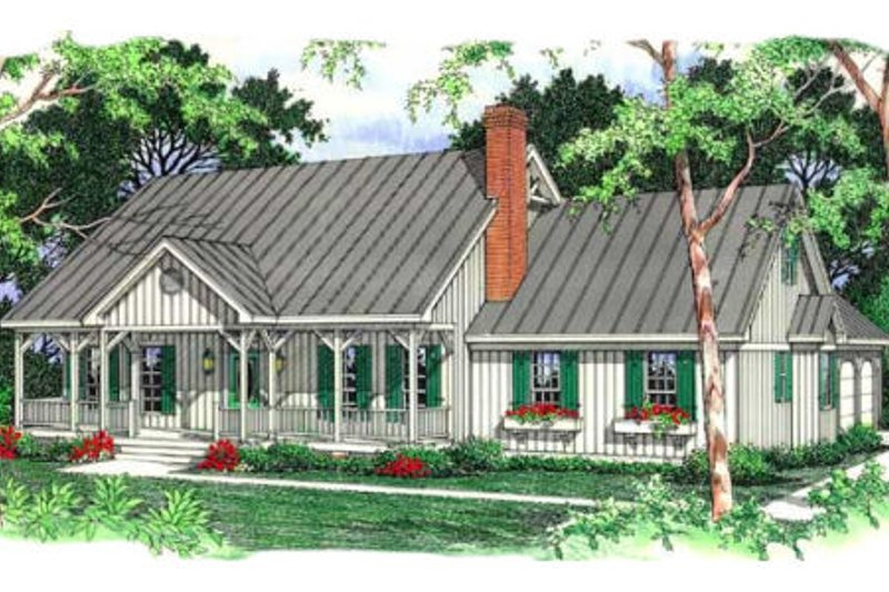 Country Exterior - Front Elevation Plan #406-152 - Houseplans.com