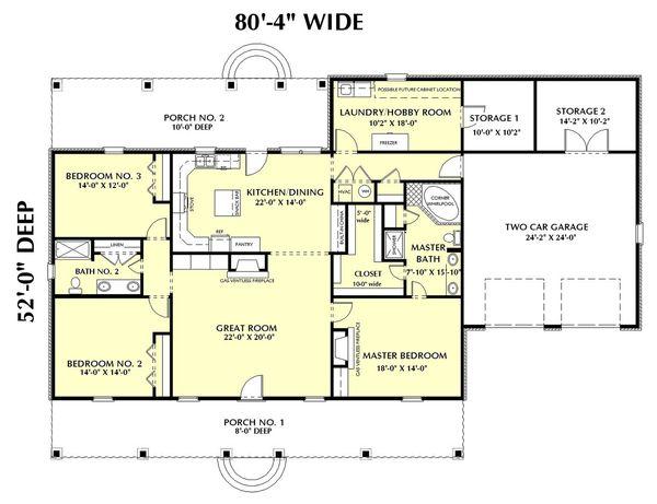 Southern Floor Plan - Main Floor Plan Plan #44-144