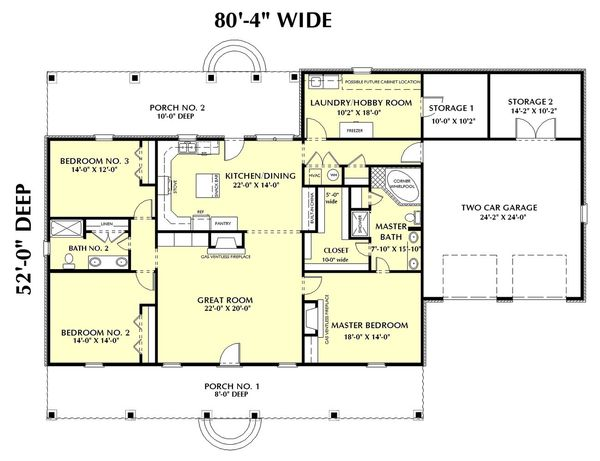Home Plan - Southern Floor Plan - Main Floor Plan #44-144