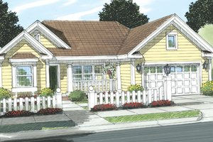 Cottage Exterior - Front Elevation Plan #513-2055