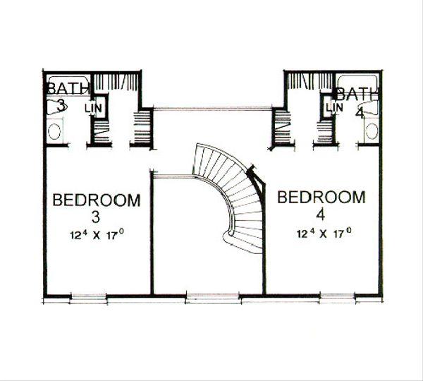 Classical Floor Plan - Upper Floor Plan Plan #472-1