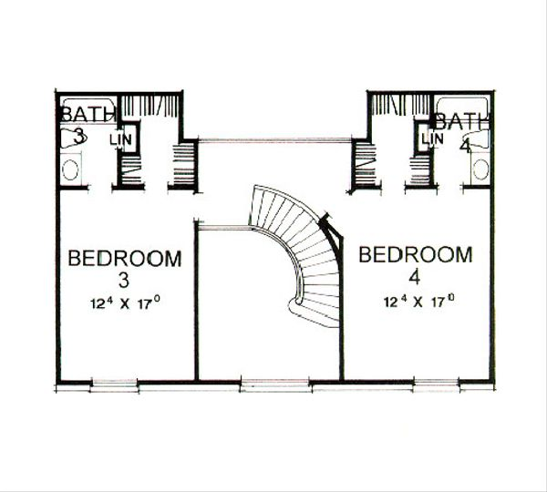 Classical Floor Plan - Upper Floor Plan Plan #472-1