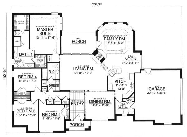 European Floor Plan - Main Floor Plan Plan #40-389