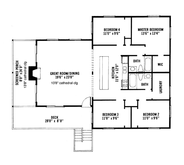 Cabin Floor Plan - Main Floor Plan Plan #959-4