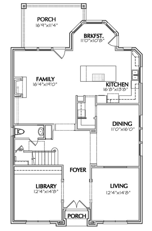 Traditional Floor Plan - Main Floor Plan Plan #1021-11