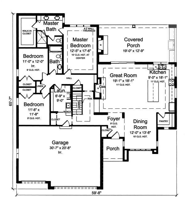 Home Plan - Ranch Floor Plan - Main Floor Plan #46-876