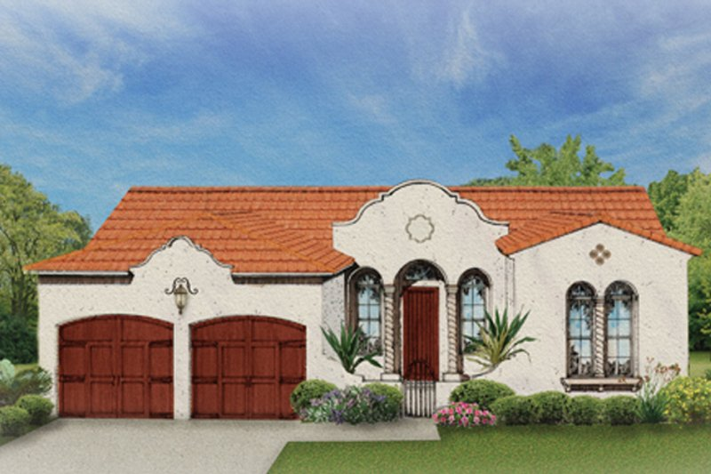 Mediterranean Exterior - Front Elevation Plan #1058-2 - Houseplans.com