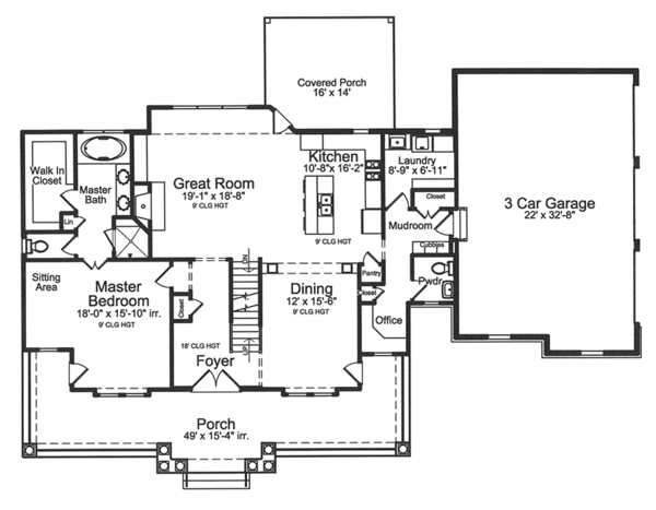 Traditional Floor Plan - Main Floor Plan Plan #46-852