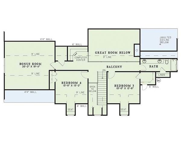 Colonial Floor Plan - Upper Floor Plan Plan #17-2068