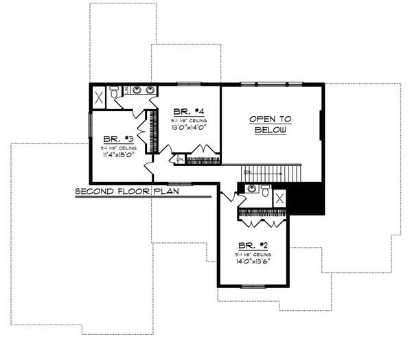 Farmhouse Floor Plan - Upper Floor Plan Plan #70-1469