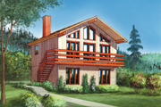 Cabin Style House Plan - 3 Beds 1 Baths 1248 Sq/Ft Plan #25-4849 Exterior - Front Elevation
