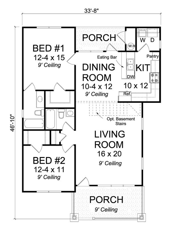Cottage Floor Plan - Main Floor Plan #513-2084