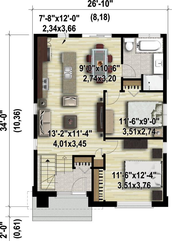 Contemporary Floor Plan - Main Floor Plan #25-4325