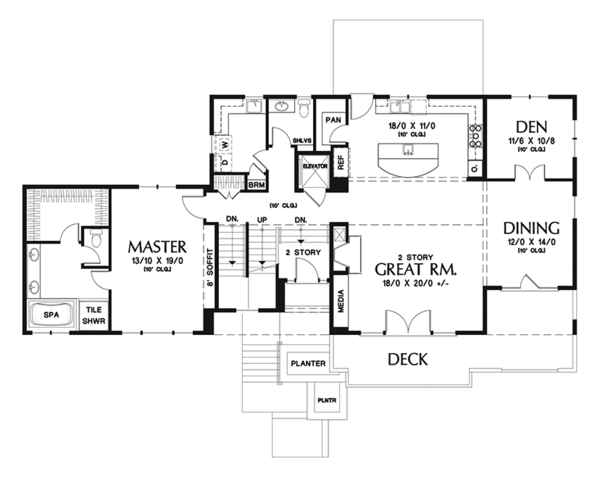 Prairie Floor Plan - Main Floor Plan Plan #48-922