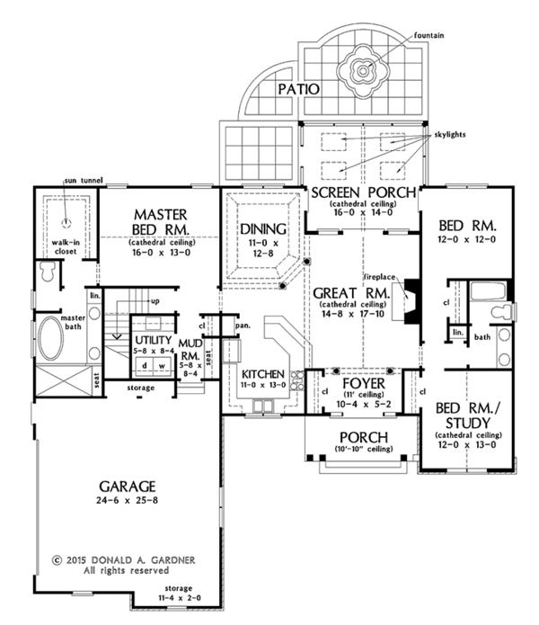 Ranch Floor Plan - Main Floor Plan Plan #929-1002