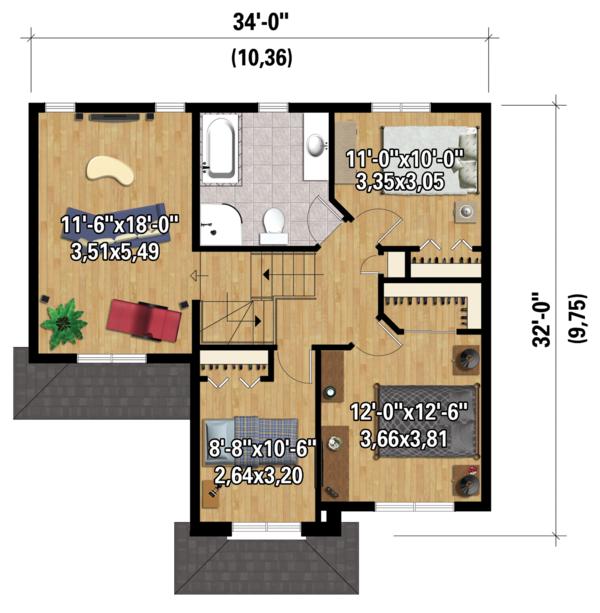 Traditional Floor Plan - Upper Floor Plan Plan #25-4423