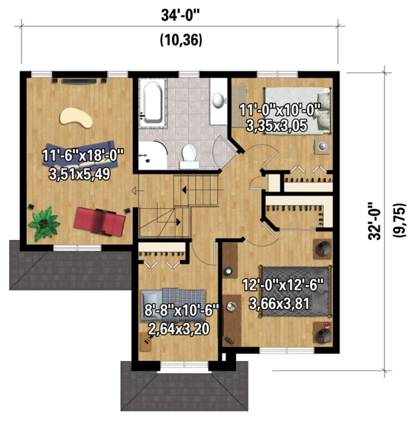 Traditional Floor Plan - Upper Floor Plan #25-4423