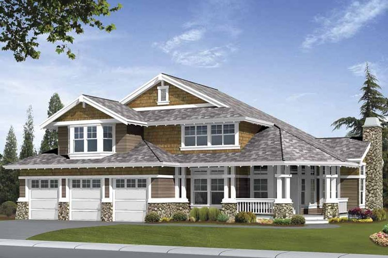 Craftsman Exterior - Front Elevation Plan #132-409 - Houseplans.com