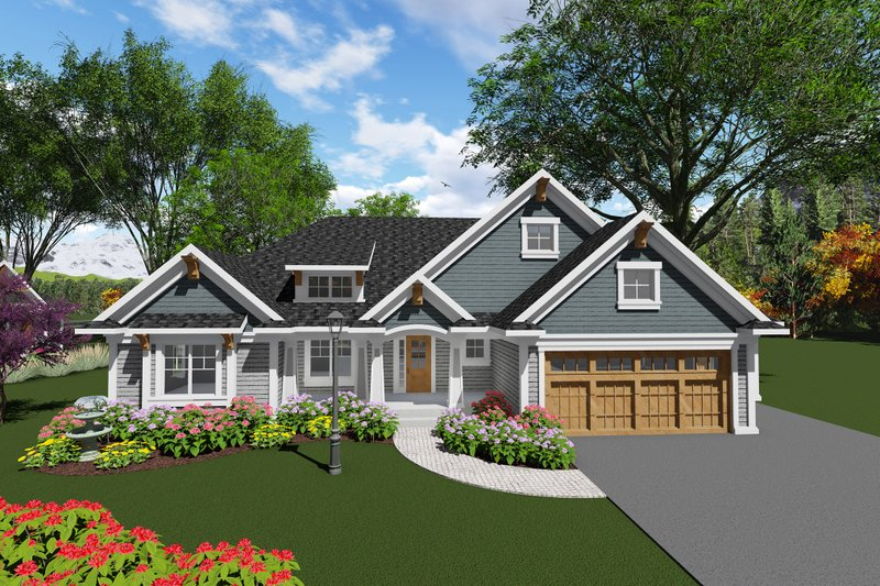 Craftsman Style House Plan - 2 Beds 2.5 Baths 1986 Sq/Ft Plan #70-1271 Exterior - Front Elevation