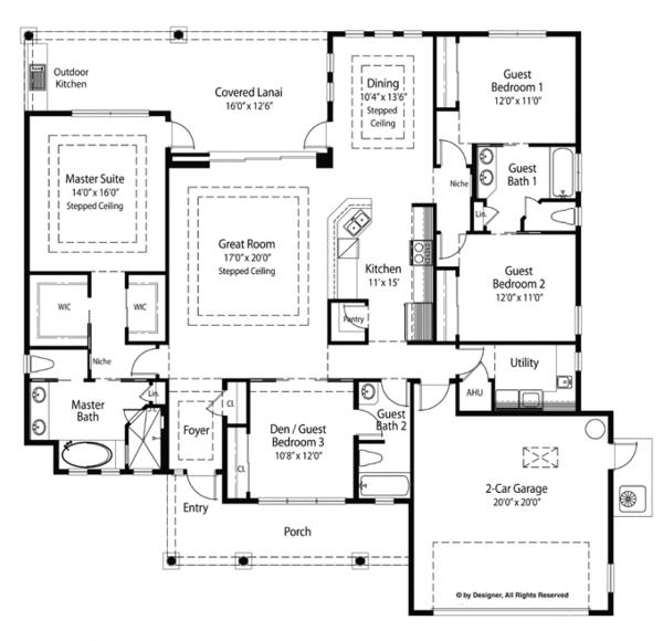Country Floor Plan - Main Floor Plan Plan #938-69