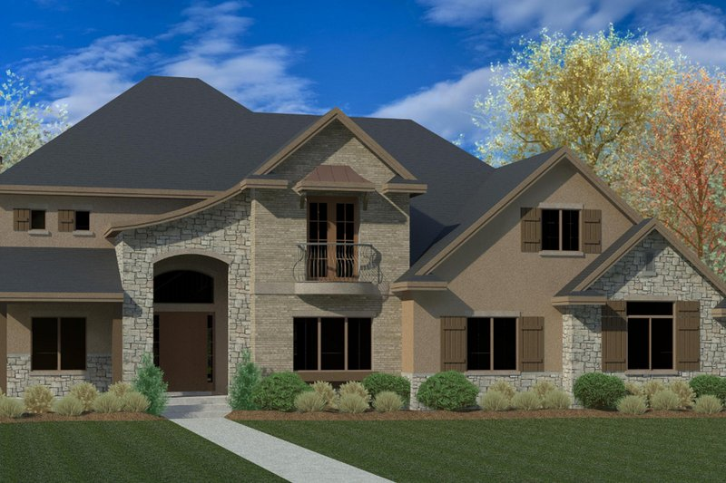European Exterior - Front Elevation Plan #920-116