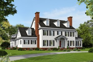 Colonial Exterior - Front Elevation Plan #932-1