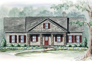 Country Exterior - Front Elevation Plan #54-265