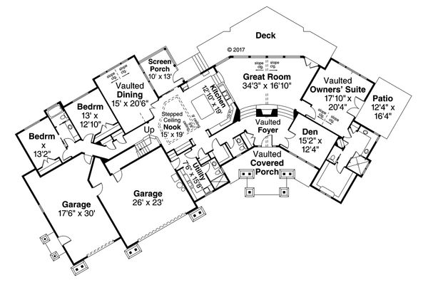 Architectural House Design - Craftsman Floor Plan - Main Floor Plan #124-1042