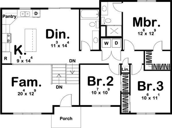 Farmhouse Floor Plan - Main Floor Plan Plan #455-218
