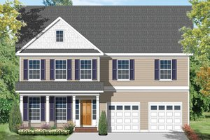 Colonial Exterior - Front Elevation Plan #1053-54