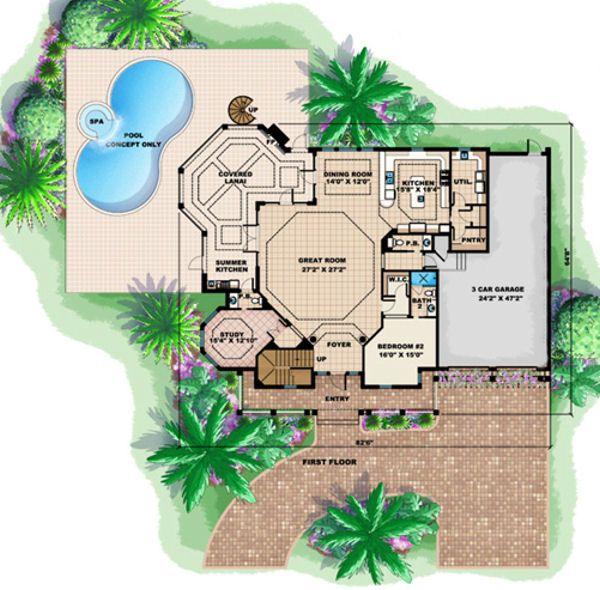 Mediterranean Floor Plan - Main Floor Plan Plan #27-385