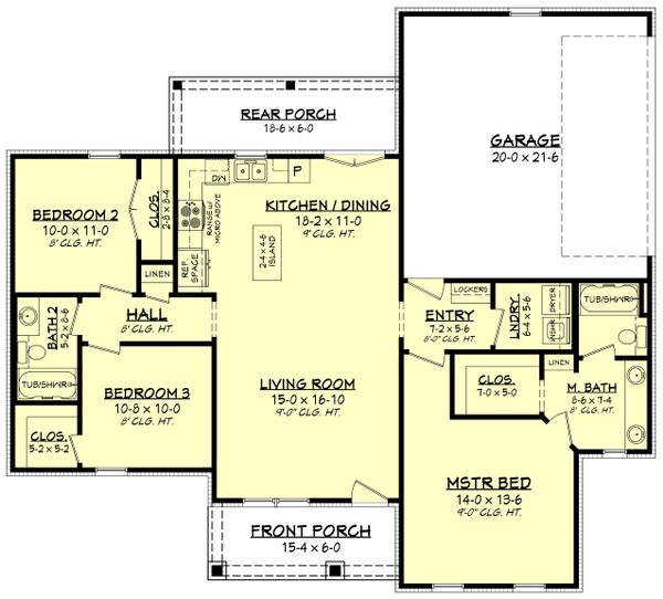 House Plan Design - Farmhouse Floor Plan - Main Floor Plan #430-213
