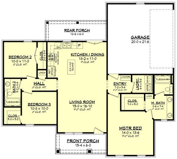 Architectural House Design - Farmhouse Floor Plan - Main Floor Plan #430-213