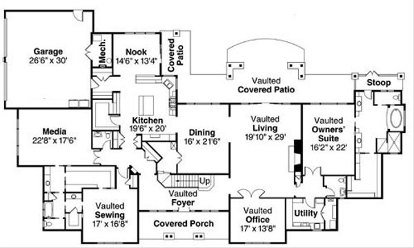 European Floor Plan - Main Floor Plan Plan #124-782