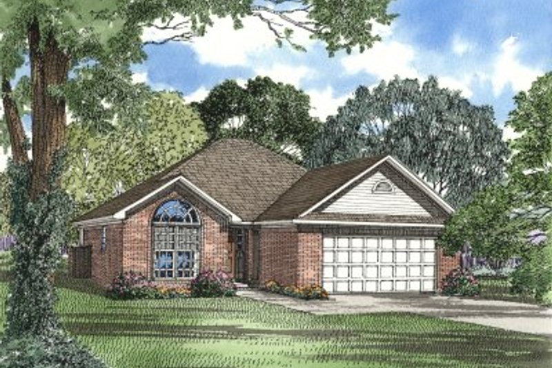 Traditional Style House Plan - 3 Beds 2 Baths 1355 Sq/Ft Plan #17-152 Exterior - Front Elevation