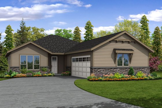 Ranch Exterior - Front Elevation Plan #124-1096