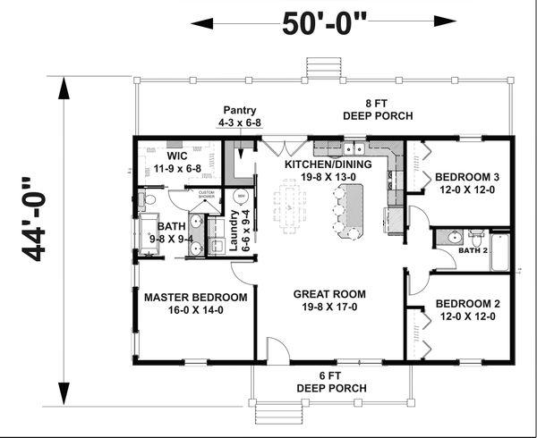 Dream House Plan - Cottage Floor Plan - Main Floor Plan #44-247