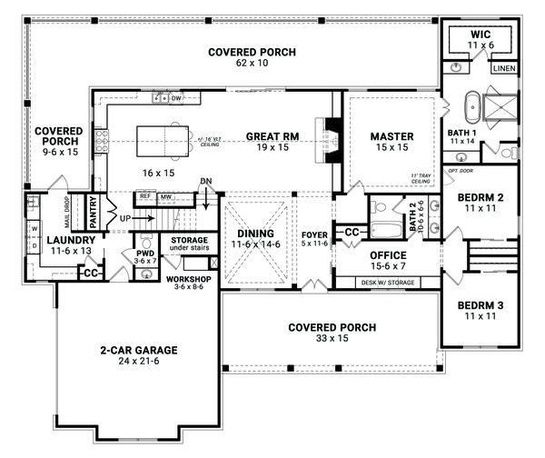 Architectural House Design - Farmhouse Floor Plan - Main Floor Plan #119-436