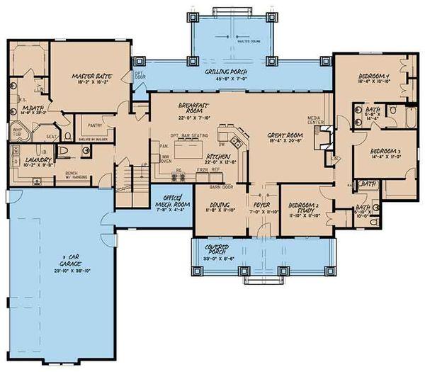 House Plan Design - Craftsman Floor Plan - Main Floor Plan #17-3407
