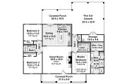 Colonial Style House Plan - 3 Beds 2 Baths 1640 Sq/Ft Plan #21-338 Floor Plan - Main Floor Plan