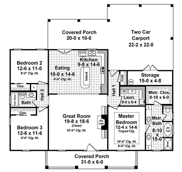Colonial Floor Plan - Main Floor Plan Plan #21-338