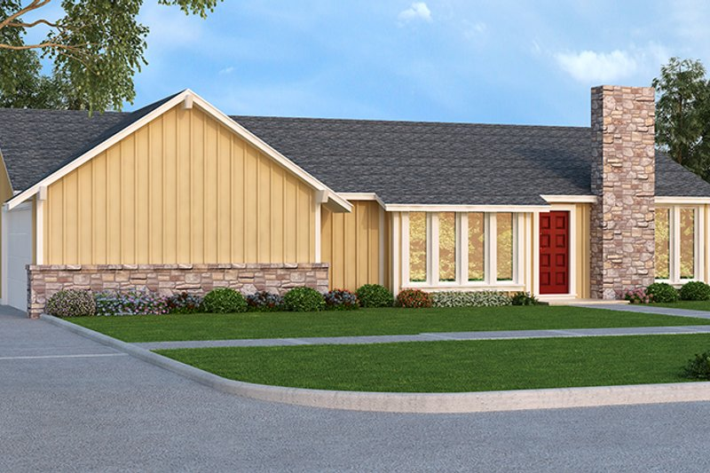 Ranch Exterior - Front Elevation Plan #45-535 - Houseplans.com