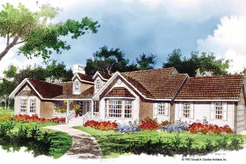 Ranch Exterior - Front Elevation Plan #929-65