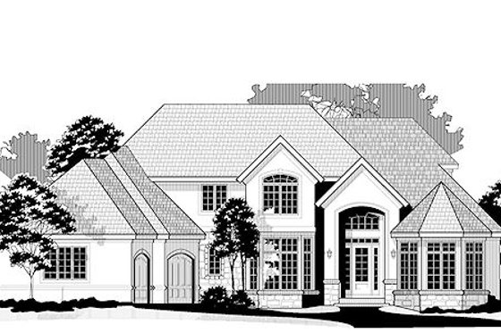European Exterior - Front Elevation Plan #67-886