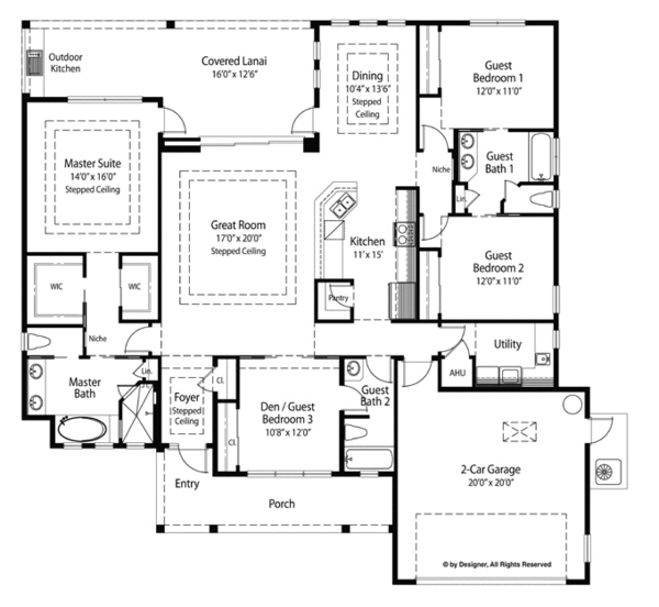 Country Floor Plan - Main Floor Plan Plan #938-68