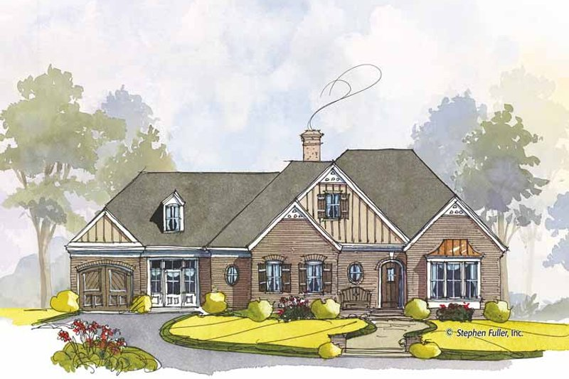 Colonial Exterior - Front Elevation Plan #429-441