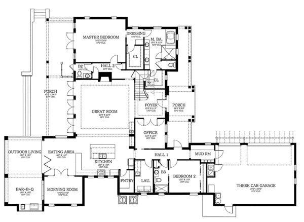 Country Floor Plan - Main Floor Plan Plan #1058-80