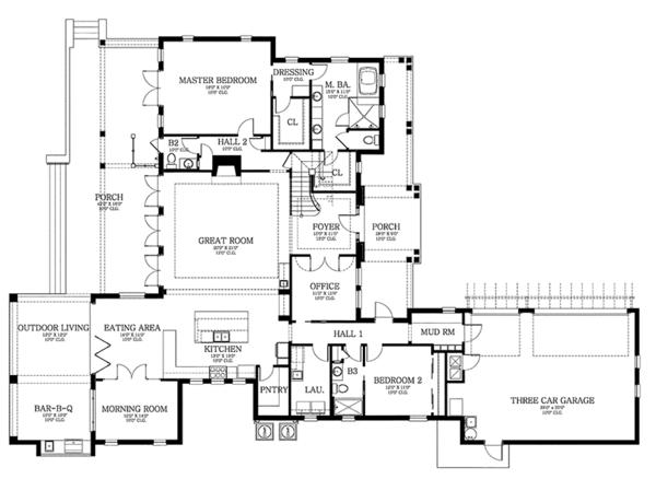 Dream House Plan - Country Floor Plan - Main Floor Plan #1058-80