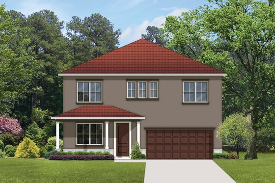 Mediterranean Exterior - Front Elevation Plan #1058-64